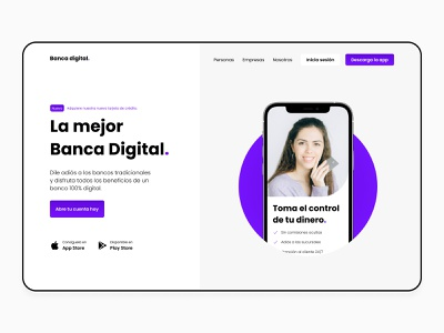 Digital Bank bank bank app digital bank banking app credit card card money app finance app finance landing hero mexico website