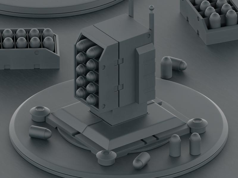 Defense Turrets WIP rocket sci fi bullets machine gun 3d blender 3d mexico blender
