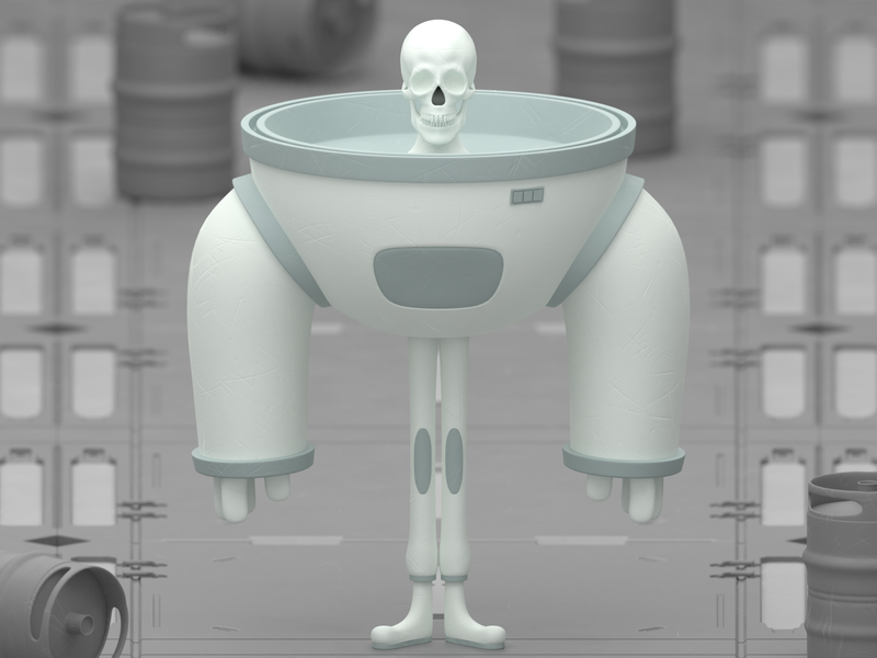 Dead spaceman isometric illustration blender 3d sci fi skull spaceman space death character mexico blender animation 3d