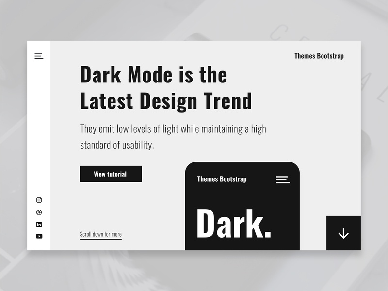 Dark Mode simple clean ux design ui design ux ui theme free template free theme free freebie bootstrap 4 mexico