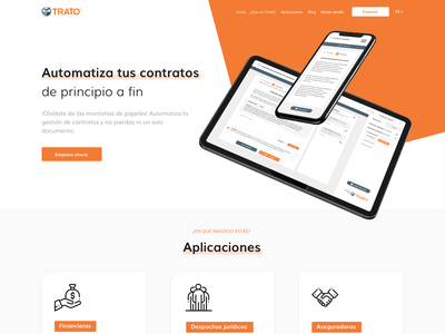 Trato |  Electronic Contract Management onepage homepage landing trato ux design ui design freelance orange blockchain contracts contract mexico