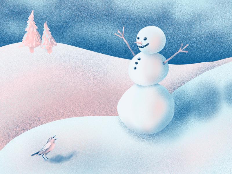 Snowy Friends winter snow bird snowman