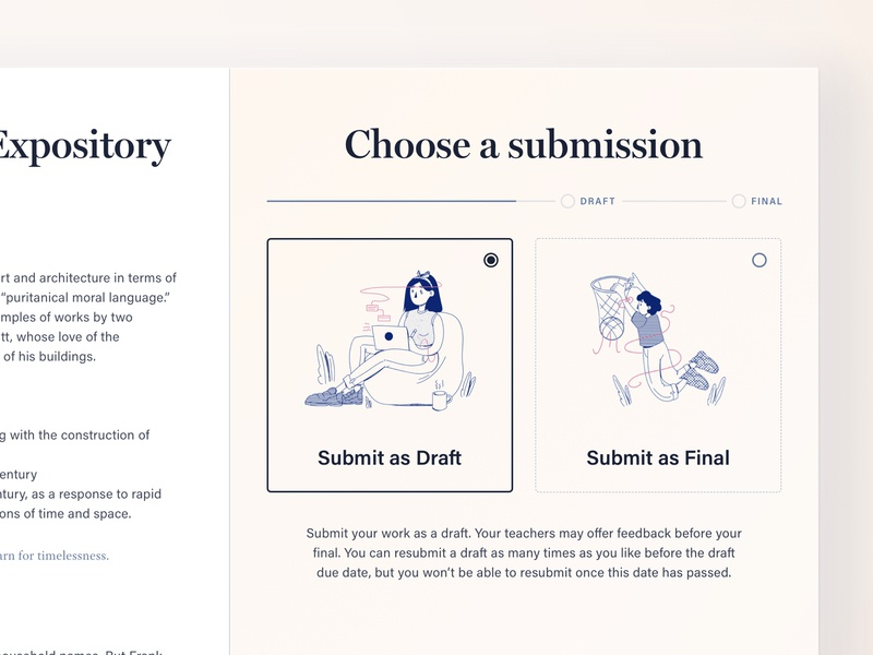 Make your choice — Assessment submission product design ui illustration learning sketch cadmus assessment