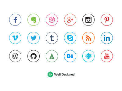 20 Social Media Icons (Freebie) social media icons outlined free freebie freebies well designed