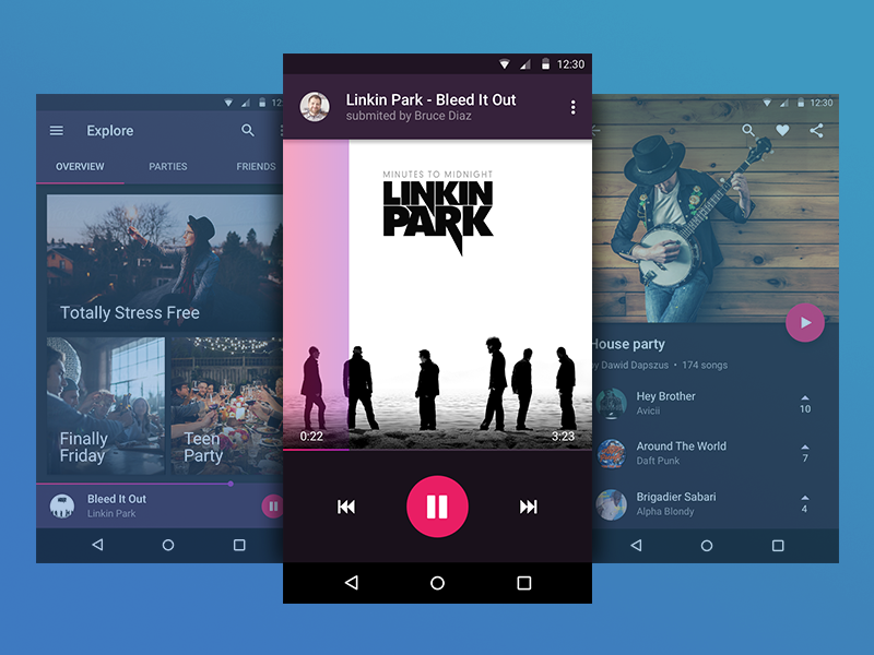 CrowdPlayer - Android app cards dashboard list music player dark pink purple material ux ui android