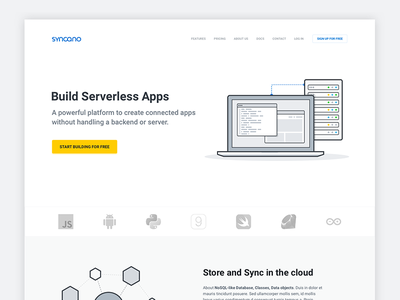 Syncano redesign website landing page startup software service saas yellow illustrations vectors blue clean white