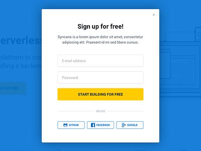 Sign up form log in register ui website popup modal forms form sign up design syncano
