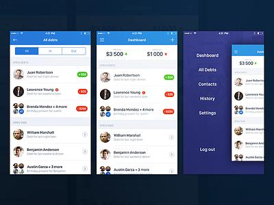 Finance app for iOS settle split money purple clean white blue mobile app financial finance ios