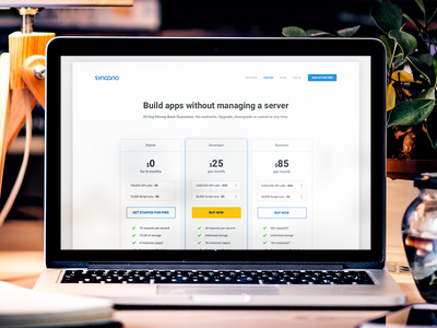 Syncano's pricing page money yellow white blue flat minimalistic clean page landing website syncano pricing page