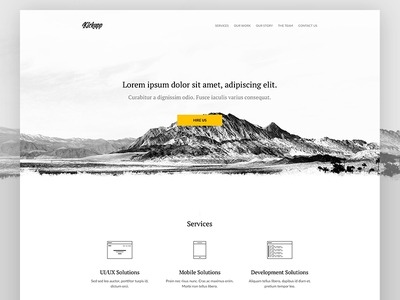 Kickapp concept agency software house contrast black lines flat clear clean white website