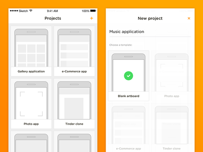 Wireframes app concept pure clean white orange lines illustrations flat iphone mobile app wireframes