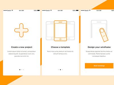 Walkthrough concept clear clean steps iphone ios illustrations icons flat white orange concept walkthrough