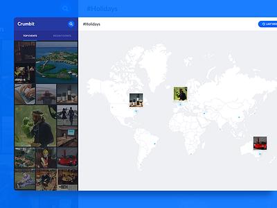 Crumbit app live search grid list map blue application web app app crumbit