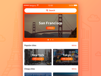 Nomad App - 1st concept app ios iphone apple nomad white clean search city digital travel