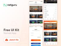 Nomad App Freebie white netguru mobile iphone ios kit ui template sketch freebie app nomad
