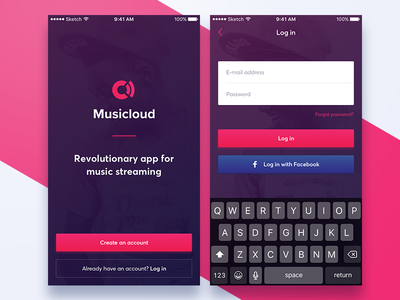Musicloud - Welcome screens music ios iphone white application mobile pink signup welcome register login