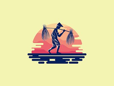 Work hard (farmer) beq nature mark brand sunset forsale sale farmer logo