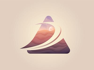Night beq illustration desert landscape icon logo sale forsale night