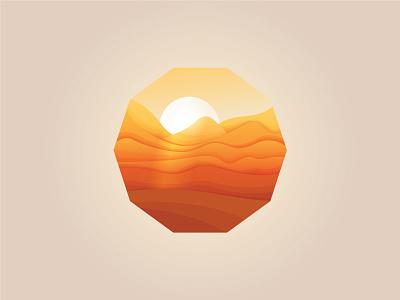 Oasis mirage sunset sunrise logo brand desert mark forsale sale icon beq