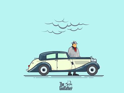 Luca Brasi flat beq illustration retro car