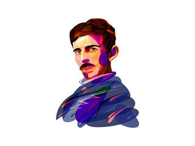 Nikola Tesla physics mascot logo illustration figure inventor tesla branding beq icon