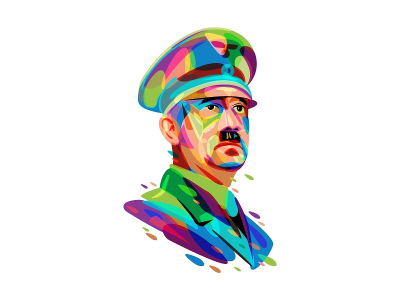Pure Art Hitler fullcolor politics figures war marine logo icon hitler army soldier illustration