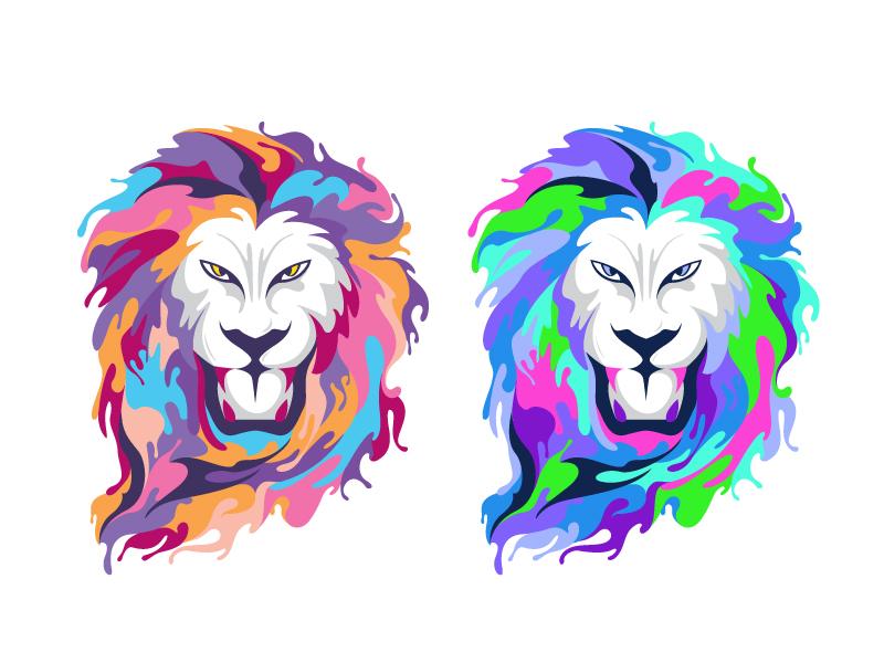 Two Lion fullcolor lion logo branding forsale beq-01 illustration