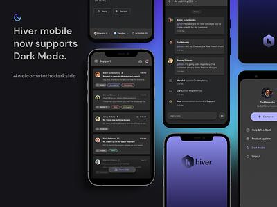 Dark Mode on Hiver hiver mobile app mobile ui dark mode
