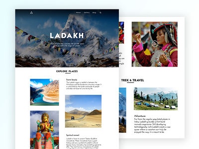 Ladakh Landing Page concept grids leh ladakh travel user-interface