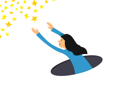 Reach For The Stars stars minimal flat idiom illustration