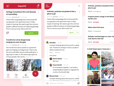 Imapctful - by the community, for the community app apps application community ui  ux design cards app concept
