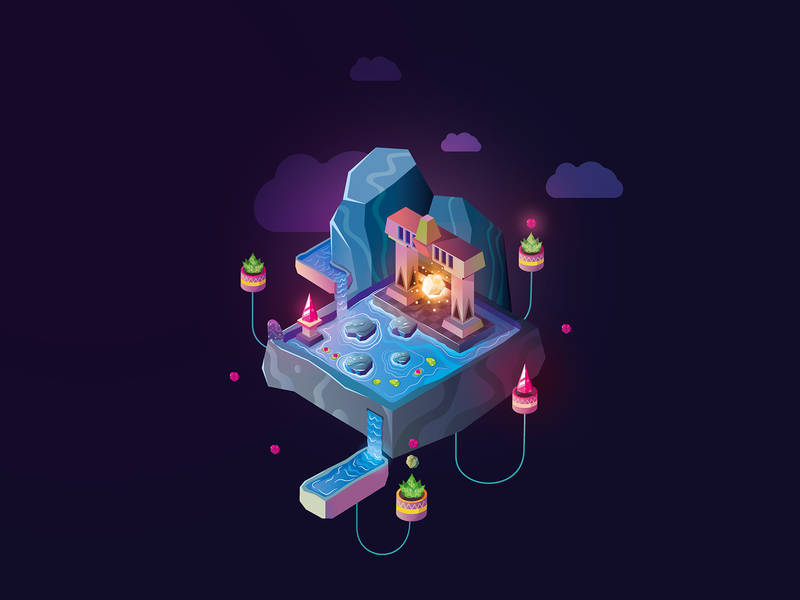 The magic cube concept-art environment design illustration game-art