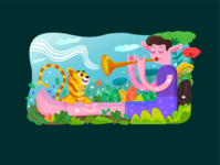 Little cat and Trumpet boy