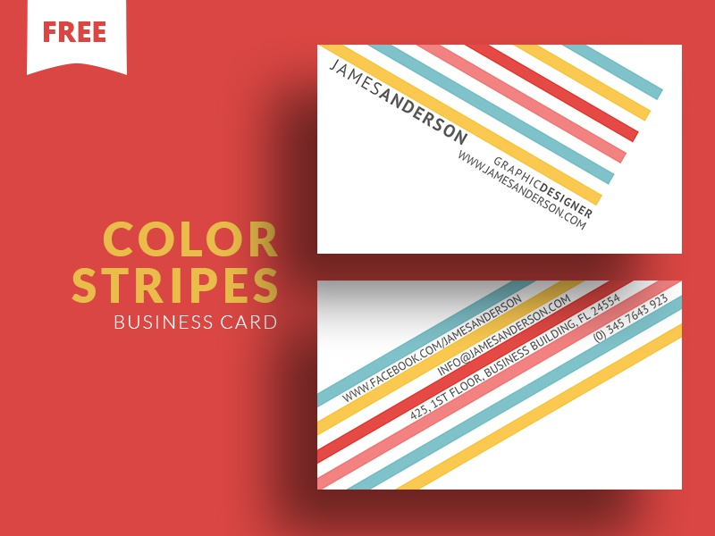 Free - Color Stripes Business Card freebie free photoshop template cooledition business card freebie free business card business card