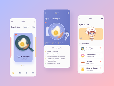Simpl Food App recipe app recipe cooking kitchen meal mobile design delivery app food and drink food icon food food app mobile ui ui design