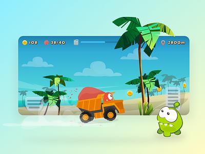 Om Nom Racing game illustration ui design racing game character mobile game design mobile game ui game ui game design
