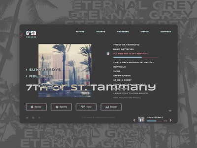 G*59 Record Label page_ ui design suicideboys dark theme ui streaming record label music player hip hop music grey dark theme dark