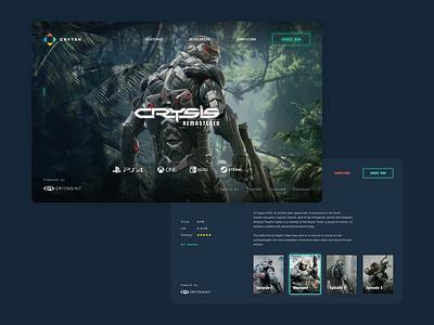 Crysis: remastered promo page steam game store e-commerce ui dark ui web design gamedev gaming dark theme landing page ui design