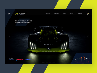 Le Mans Hypercar project Web teaser dark ui auto branding dark theme hypercar web design sportcar peugeot lemans motorsport landing page autosport