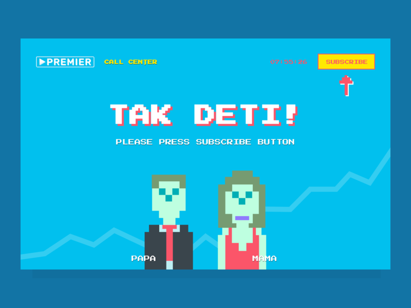 TAK DETI! characters dark theme promo streaming service call to action branding illustration web design pixel art landing page