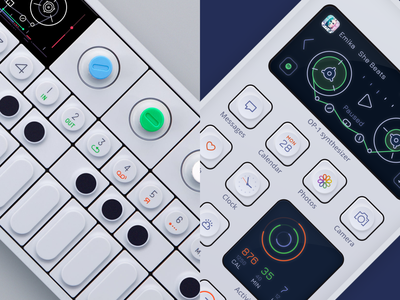 Spotify widget & theme like OP-1 synth dark theme ui design synthesizer op-1 mobile design app icon ios14 ios dark ui widget app design ui music player spotify mobile ui