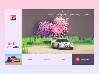 art of rally homepage gamedesign lowpoly auto gaming racing gamedev rally ui web design landing page ui design motorsport