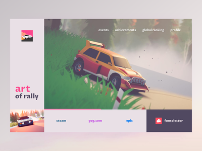 art of rally homepage gamedesign lowpoly auto gaming racing gamedev rally ui web design landing page ui design motorsport