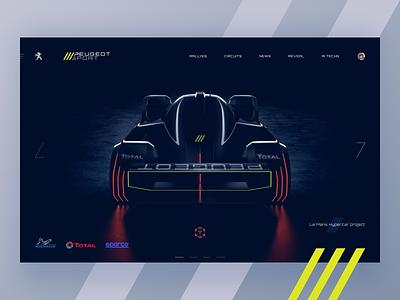Le Mans Hypercar teaser_ supercar autosport dark ui le mans peugeot auto branding motorsport ui dark theme landing page ui design