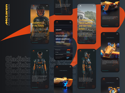 Gladiators of the future by McLaren mobile menu mobile design mobile ui dark ui dark theme motorsport f1 formula1 mclaren