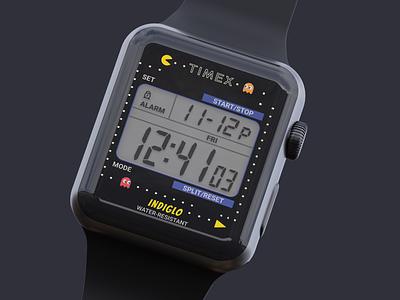 Timex T80 tribute pt. 2 apple watch design pacman clock app apple watch watchos app design dark theme mobile ui ui design