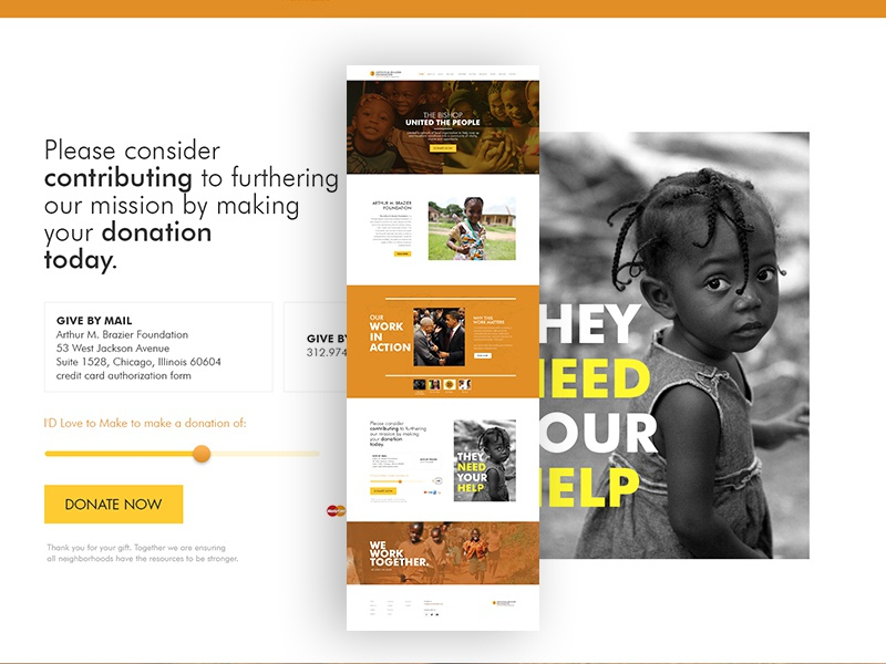 Foundation web charity interactive wireframe design code website ux ui