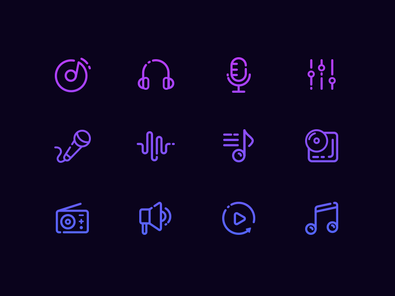 Music Icons neon music icons line