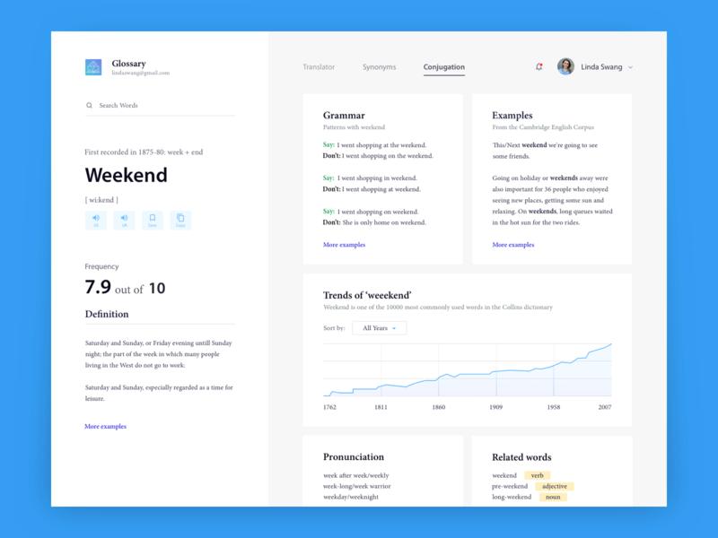 Dictionary App dashboard ui blue and white uxui menu bar cards graphs tabs header webapp