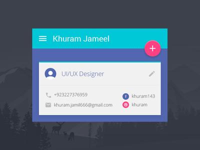 Designer Material Card profile app button material ux google card icon ui colors